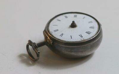 Solid Georgian silver Verge Fusee pair case pocket watch 1781 not working No res