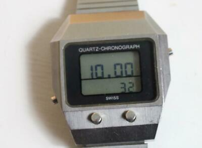 Unusual Quartz Chronograph vintage digital gents wristwatch Guarda Val AG 1970's