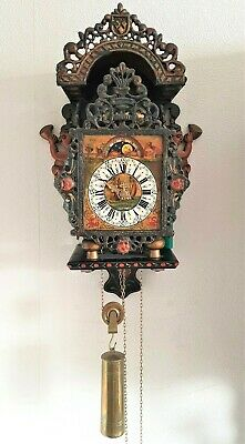 Warmink Wall Clock Dutch Stoelklok Chair Clock Bell Moon Dial Rear Pendulum