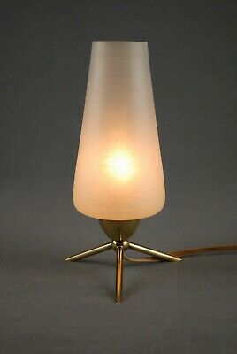 Mid Century Brass & Glass Tripod Table Lamp Modernist Danish Modern 50s 60s Era