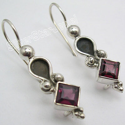 925 Sterling Silver RED GARNET Stone ANCIENT STYLE Dangle NEW Earrings 1.3""