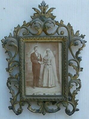 Antique Victorian Beautiful Bronze, Or Brass Ornate,fancy Picture Frame, See