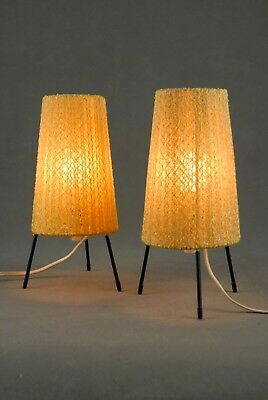 2 x Mid Century Tripod Table Small Lamps Modernist Danish Modern 50s 60s 70s Era