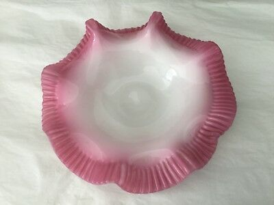 Antique white opaline scalloped bowl with crimped pink rims polished pontil 8""