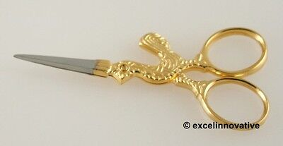"Embroidery Stitching Scissors 3.5"" Fine Point Gold Ring"