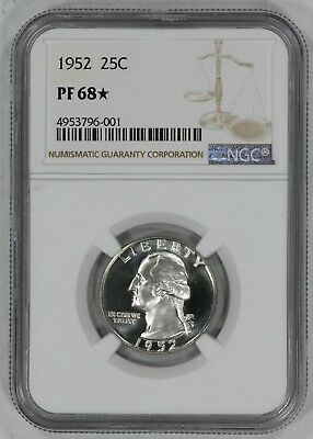 1952 Washington Quarter 25C Ngc Certified Pf 68* Proof Star (001)