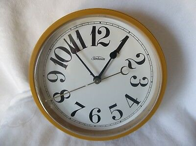 VINTAGE 1960's SUNBEAM 428A GOLD ROUND ELECTRIC  WALL CLOCK WORKS LARGE NO.