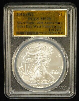 2016W Silver Eagle $1 Coin Pcgs Ms70 First Day West Point 30Th Anniv. - 02994