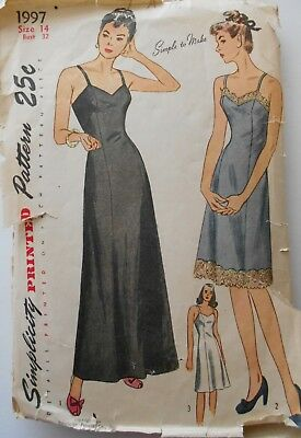 70974dc9d0 Vintage Sewing Pattern Simplicity #1997 Misses Size 14 Daytime & Evening  Slips