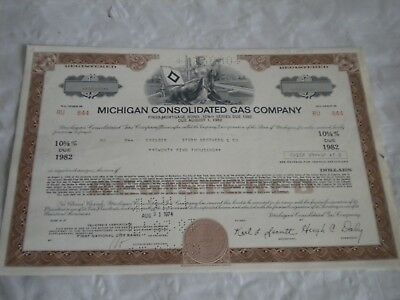 Vintage share certificate Stocks Bonds Michigan consolidated Gas co
