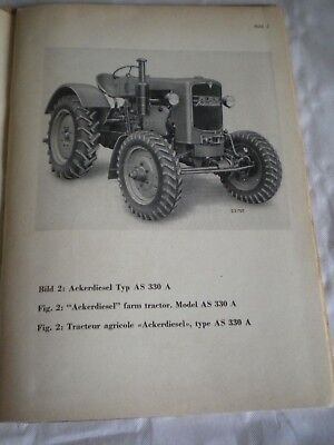 vintage tractor Manual M.A.N Tractors AS325H 330A 1950s rare
