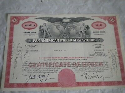 Vintage share certificate Stocks Bonds Pan American world airways inc