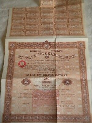 Vintage share certificate Stock Bonds Royaume de Yougoslavie 5% funding 1933