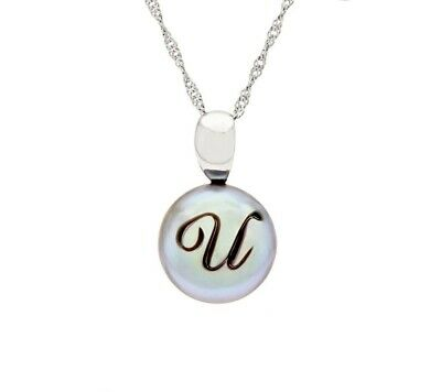 """Honora Greey Cultured Pearl Sterling """"U"""" Initial 18"""" Pendant Necklace Qvc $86"""