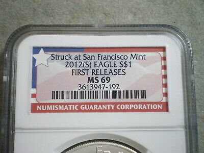 2012-S U.S. AMERICAN SILVER EAGLE MS69 NGC/ 1st RELEASES