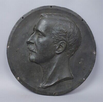 Antique c1900 Large Bronze Portrait Plaque Signed D. A. Tod 1900 Scotland