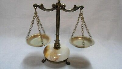 Retro Vintage Mini Scales of Justice, Brass, Bronze & Onxy, Lawyer