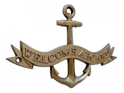 Antique Brass Welcome Aboard Anchor With Ribbon Sign 8  Anchor Wall Decor  Nauti
