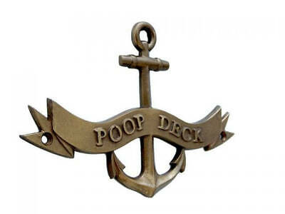 Antique Brass Poop Deck Anchor With Ribbon Sign 8  Anchor Home Decor  Nautical T