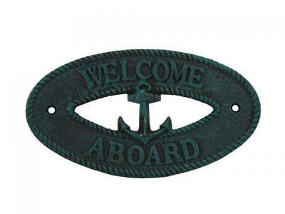 """Seaworn Blue Cast Iron Welcome Aboard with Anchor Sign 8"""" - Decorative Metal Wal"""