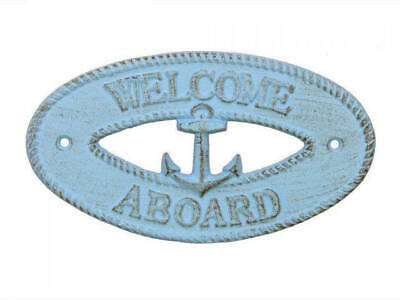 """Rustic Light Blue Cast Iron Welcome Aboard with Anchor Sign 8"""" - Decorative Meta"""