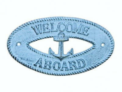 """Dark Blue Whitewashed Cast Iron Welcome Aboard with Anchor Sign 8"""" - Decorative"""