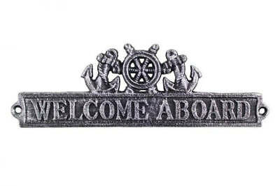 """Antique Silver Cast Iron Welcome Aboard Sign with Ship Wheel and Anchors 12"""" - N"""