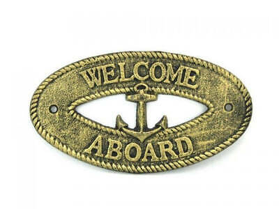 """Antique Gold Cast Iron Welcome Aboard with Anchor Sign 8"""" - Decorative Metal Wal"""