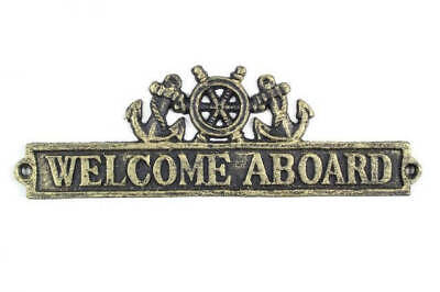"""Antique Gold Cast Iron Welcome Aboard Sign with Ship Wheel and Anchors 12"""" - Nau"""