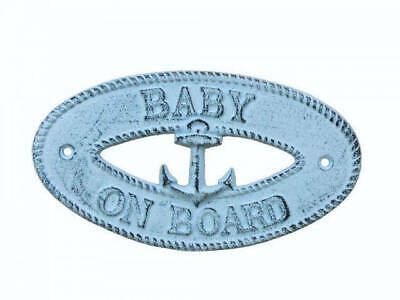 """Dark Blue Whitewashed Cast Iron Baby on Board with Anchor Sign 8"""" - Decorative"""