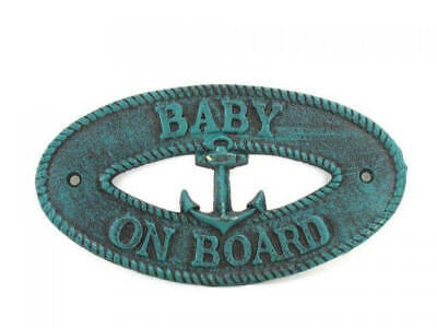 """Seaworn Blue Cast Iron Baby on Board with Anchor Sign 8"""" - Decorative Metal Wall"""