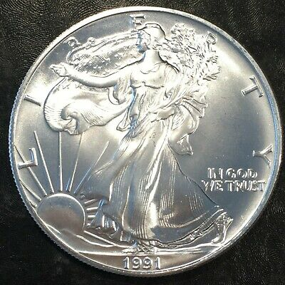 1991 Uncirculated American Silver Eagle US Mint Issue 1oz Pure Silver #H637