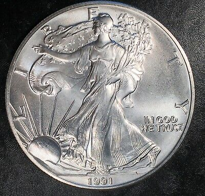 1991 Uncirculated American Silver Eagle US Mint Issue 1oz Pure Silver #G078