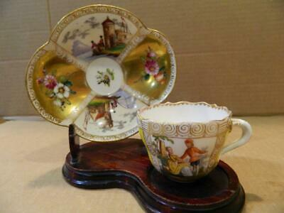 Meissen Hand Painted Demitasse Cup & Saucer Romantic Antique