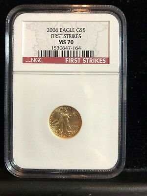 2006 1/10th oz  $5 GOLD American Eagle NGC MS70  - First Strikes -#164