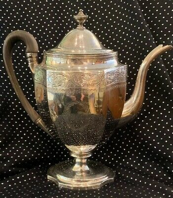 "Robert & David HENNELL Georgian Antique Large 12"" STERLING Silver Tea Coffee Pot"