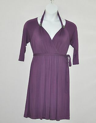 M by Marc Bouwer Cold Shoulder Knit Dress with Knot Detail Size S Purple
