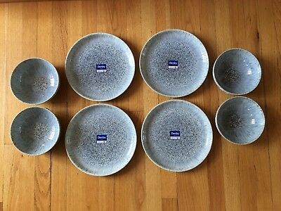 NWT 8 Pc Denby Halo Speckle Coupe - 4 Cereal Bowls & 4 Dinner Plates