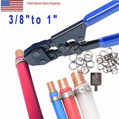 """PEX Pipe Cinch Crimping Tool with Clamp Fit Clamp 3/8"""", 1/2"""", 5/8"""", 3/4"""" and 1"""""""