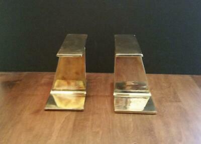 Mid-Century Pair Industrial Gold Wash Plated Steel - Chrome I-Beam Bookends, 6""