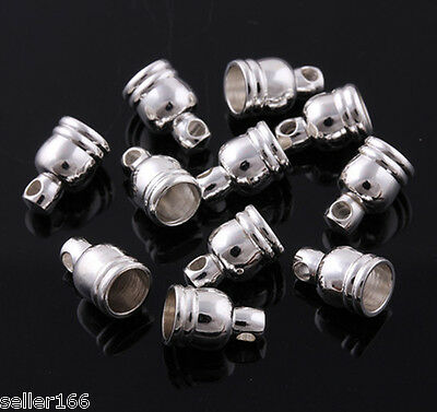 50 pcs 9mm Silver Plated Barrel Bead Leather Cord ends caps Fringed copper cap