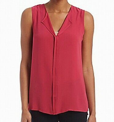 8e6f849aa2fd50 Bobeau NEW Red Split Neck Woven Pleated Women s Size XS Tank Blouse  56  663