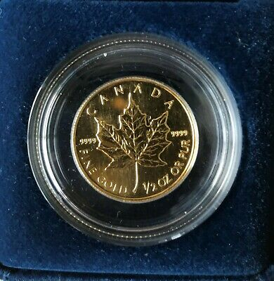 1993 1/2 oz Gold Canadian Maple Leaf Uncirculated .9999 Fine Half Ounce