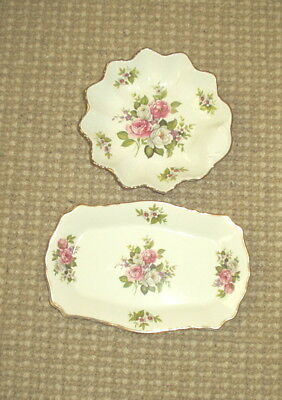 """Two Pieces James Kent Old Foley """"Harmony Rose"""" Pattern - Round Dish & Tray"""