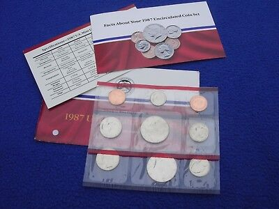 1987 P & D US Mint Uncirculated 10 Coin Set  With COA