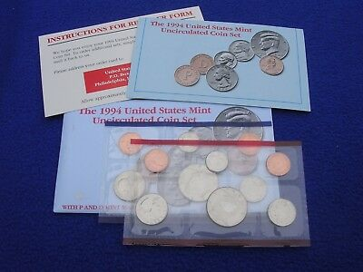 1994 P & D US Mint Uncirculated 10 Coin Set  With COA