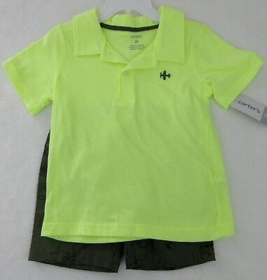 09a2b64d7 CARTERS - Infant Boys Airplane Polo Shirt and Shorts 2 pc Set size 24 Mos