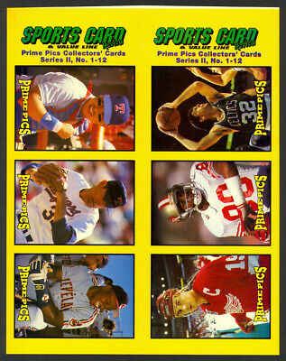 1992 Sports Card Review Uncut Panel Sheet of 6 w/ Nolan Ryan & Jerry Rice - Mint