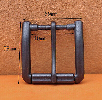 Antiqued Black Quality Solid Single Prong Roller Belt Buckle Fit 40mm Belt Strap