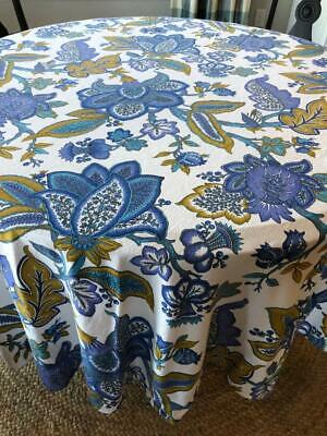 Zina Vasi 90 Round Tablecloth Bright Blue Gold On White